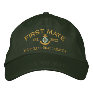Personalized First Mate YEAR Names Lifesaver Style Embroidered Baseball Cap