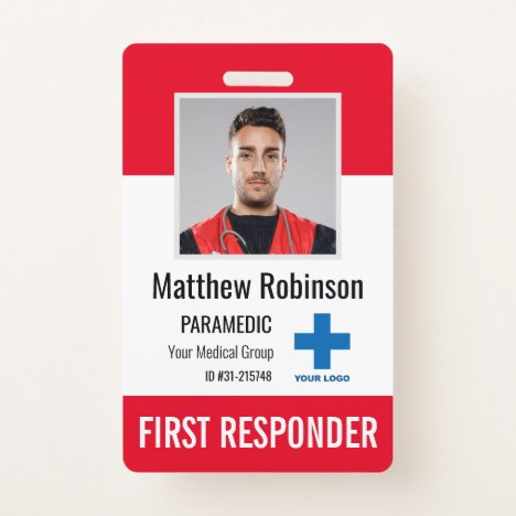 Personalized First Responder Photo ID Security Badge