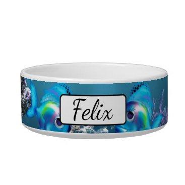 Beach Themed Personalized Fish Aquarium Blue  Cat Bowl
