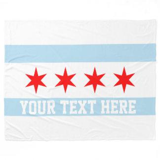 Personalized Flag of Chicago Fleece Blanket