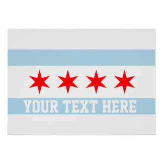 Personalized Flag of Chicago Poster