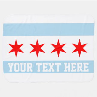 Personalized Flag of Chicago Receiving Blanket