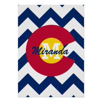 Personalized Flag of Colorado Chevron Pattern Poster