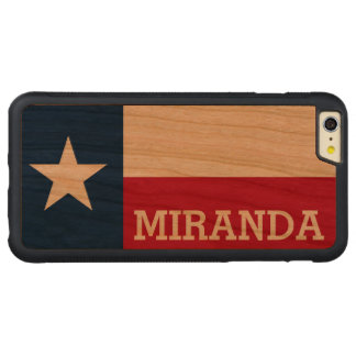 Personalized Flag of Texas Carved® Cherry iPhone 6 Plus Bumper