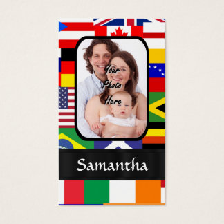Personalized flags of the world business card