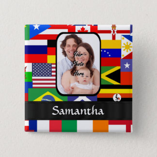 Personalized flags of the world pinback button