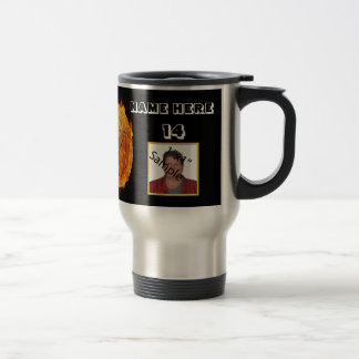 Personalized Flame basketball Photo Tumbler Travel Mug
