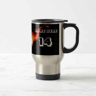 Personalized Flame Soccer Tumbler Travel Mug