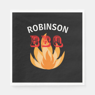 Personalized flames BBQ Paper Plates Paper Napkin