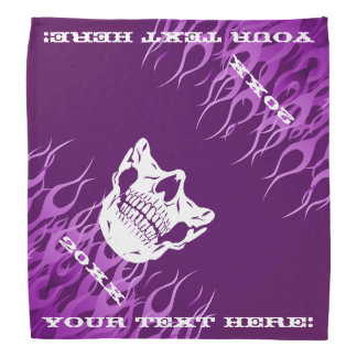 Personalized Flames Skull Half Face Mask Purple Bandana