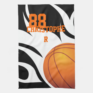 Personalized Flaming Basketball Black and White Kitchen Towel