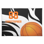 Personalized Flaming Basketball Black and White Placemat