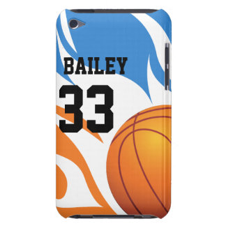 Personalized Flaming Basketball Blue and Orange Barely There iPod Cover