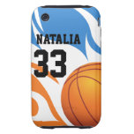 Personalized Flaming Basketball Blue and Orange iPhone 3 Tough Covers