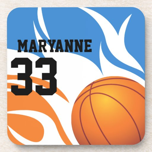 Personalized Flaming Basketball Blue and Orange Coaster