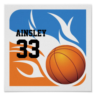 Personalized Flaming Basketball Blue and Orange Poster