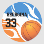 Personalized Flaming Basketball Blue and Orange Stickers