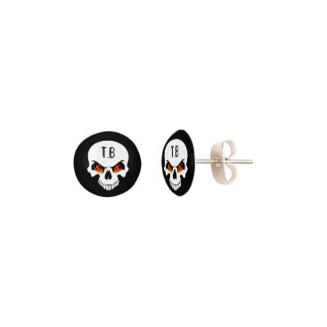 Halloween Themed (Personalized) Flaming Skull Earrings