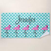 Personalized Flamingo and Polka Dot Beach Towel