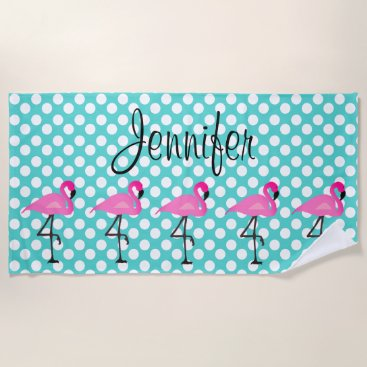 Beach Themed Personalized Flamingo and Polka Dot Beach Towel