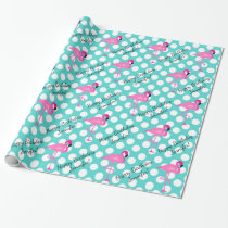 Personalized Flamingo and Polka Dot Wrapping Paper