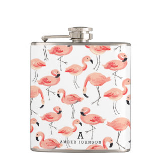 Personalized Flamingo Flask