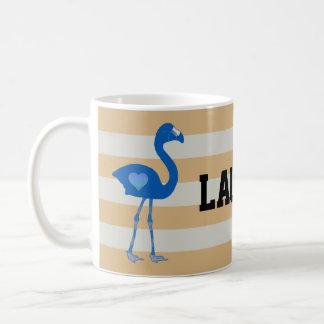 Personalized Flamingo Hearts Mug (Blue-Gold)
