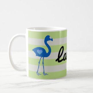 Personalized Flamingo Hearts Mug (Blue-Neon)