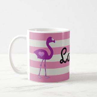 Personalized Flamingo Hearts Mug (Pink-Pink)