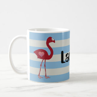Personalized Flamingo Hearts Mug (Red-SkyBlue)