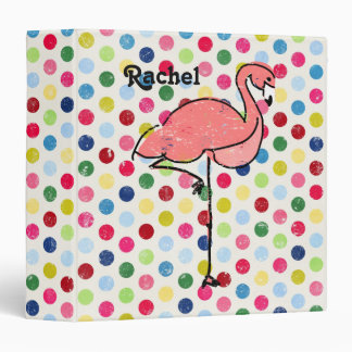 Personalized Flamingo Modern Colorful Spots 3 Ring Binder