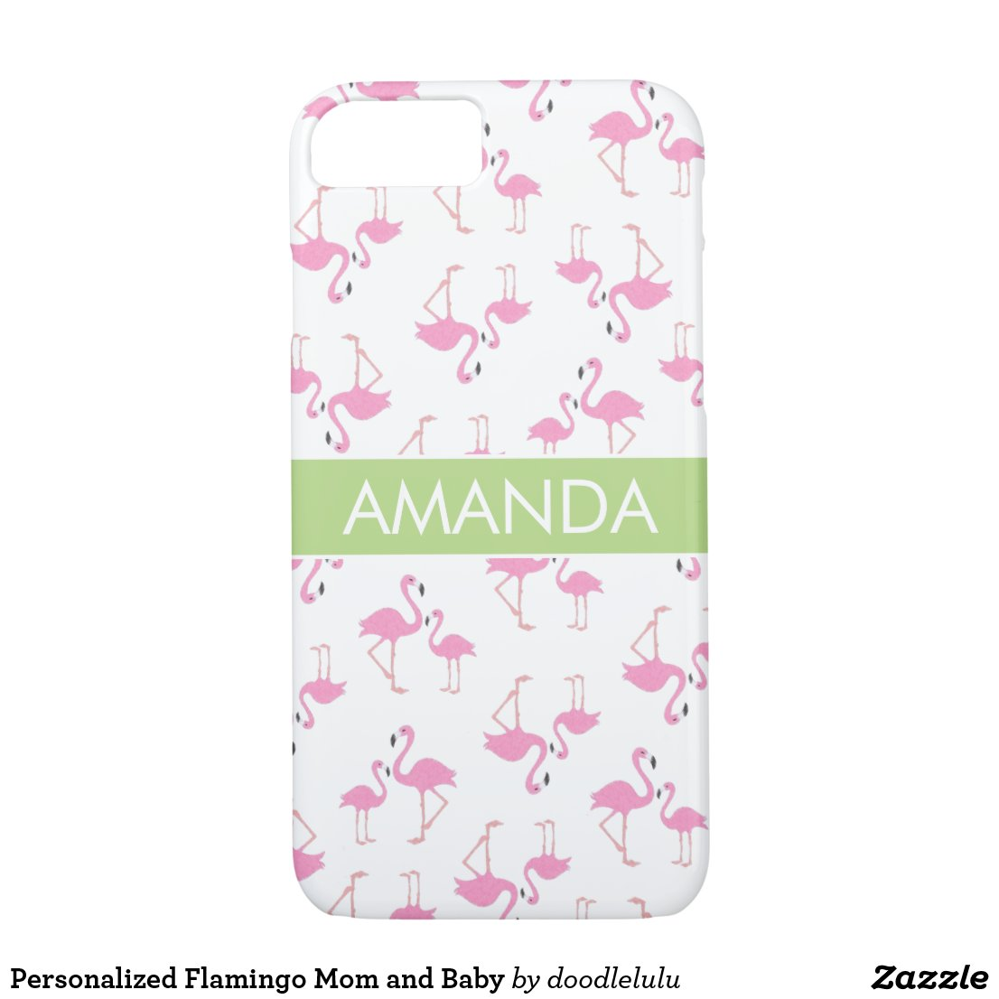 Personalized Flamingo Mom and Baby iPhone 8/7 Case