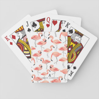 Personalized Flamingo Playing Cards