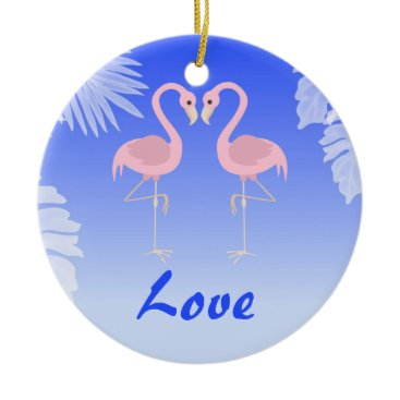 Beach Themed Personalized Flamingo Tropical Beach Love Ornament
