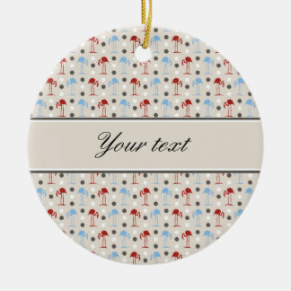 Personalized Flamingos and Polka Dots Pattern Ceramic Ornament