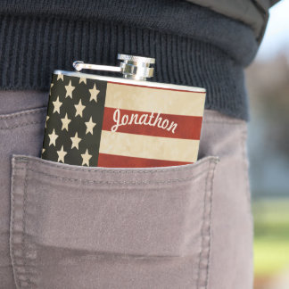 Personalized Flask American Vintage Flag