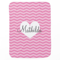 Personalized fleece baby blankets | Pink chevron