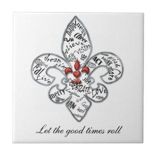 Personalized Fleur de Lis Heartfelt Expressions Small Square Tile