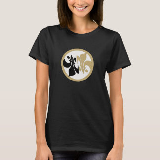 Personalized Fleur de Lis Yin Yang Black Gold T-Shirt