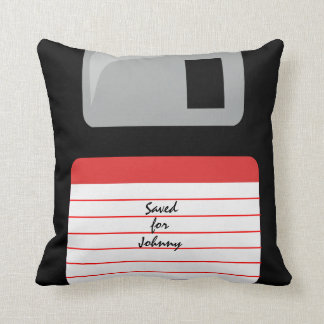 Personalized floppy disk pillow saved for you