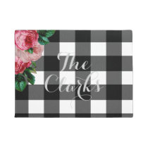 Personalized Floral and Buffalo Check Doormat
