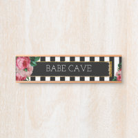 Personalized Floral and Striped Nameplate