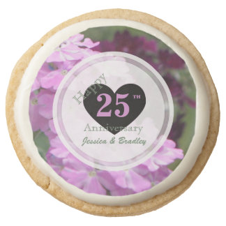 Personalized Floral Anniversary Gourmet Cookies Round Sugar Cookie