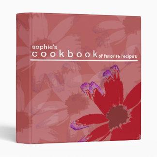 Personalized Floral Art Recipe Cookbook Binder