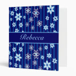 Personalized Floral blue and white patterned 3 Ring Binders