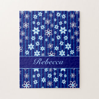 Personalized Floral blue and white patterned Jigsaw Puzzle