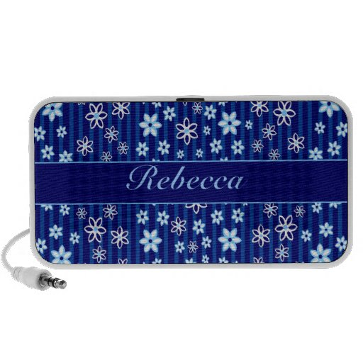 Personalized Floral blue and white patterned Mini Speakers