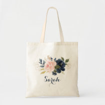 Personalized Floral Blush Navy Greenery Tote Bag