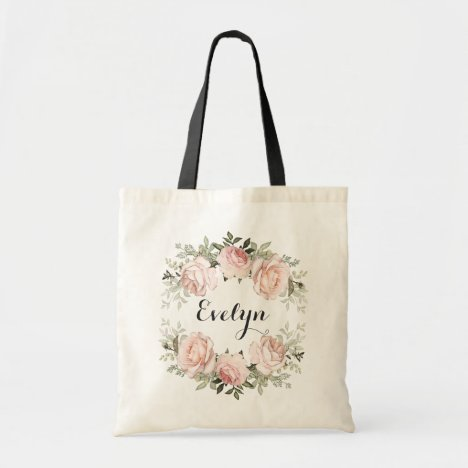 Personalized Floral Blush Shabby Chic Roses Tote Bag