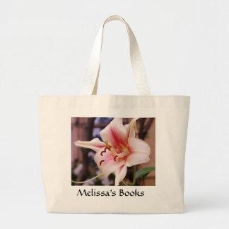 Personalized Floral Book Tote, Pink Stargazer Lily Tote Bags